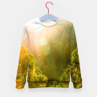 Thumbnail image of green pine tree with sunlight at Lake Tahoe, Nevada, USA Kid's sweater, Live Heroes