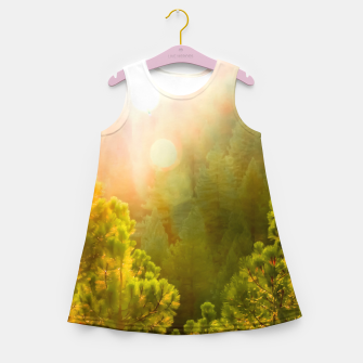 Thumbnail image of green pine tree with sunlight at Lake Tahoe, Nevada, USA Girl's summer dress, Live Heroes