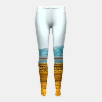 Thumbnail image of dry grass field and mountains background in California Girl's leggings, Live Heroes