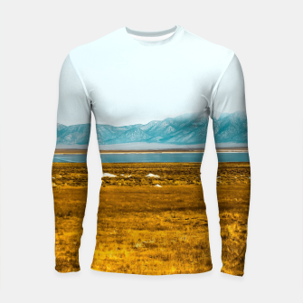 Thumbnail image of dry grass field and mountains background in California Longsleeve rashguard , Live Heroes
