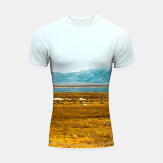 Thumbnail image of dry grass field and mountains background in California Shortsleeve rashguard, Live Heroes