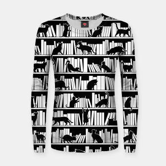 All I Need Is Books & Cats Bookish Book & Cat Lover Pattern Women sweater thumbnail image
