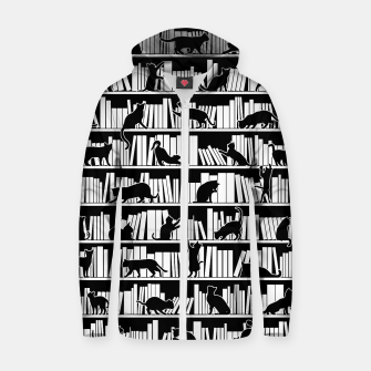 All I Need Is Books & Cats Bookish Book & Cat Lover Pattern Zip up hoodie thumbnail image