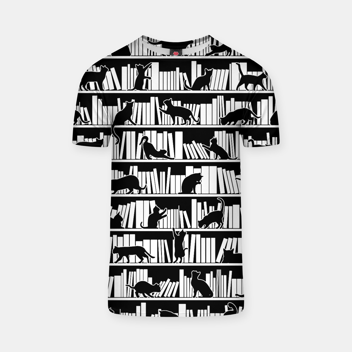 Image of All I Need Is Books & Cats Bookish Book & Cat Lover Pattern T-shirt - Live Heroes