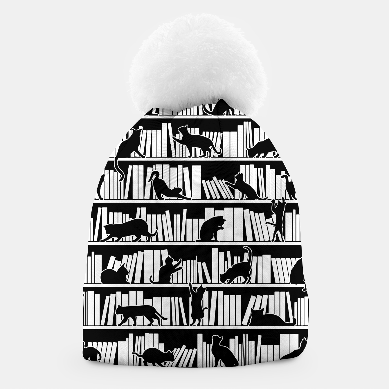 Image of All I Need Is Books & Cats Bookish Book & Cat Lover Pattern Beanie - Live Heroes