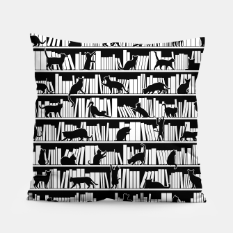 All I Need Is Books & Cats Bookish Book & Cat Lover Pattern Pillow thumbnail image