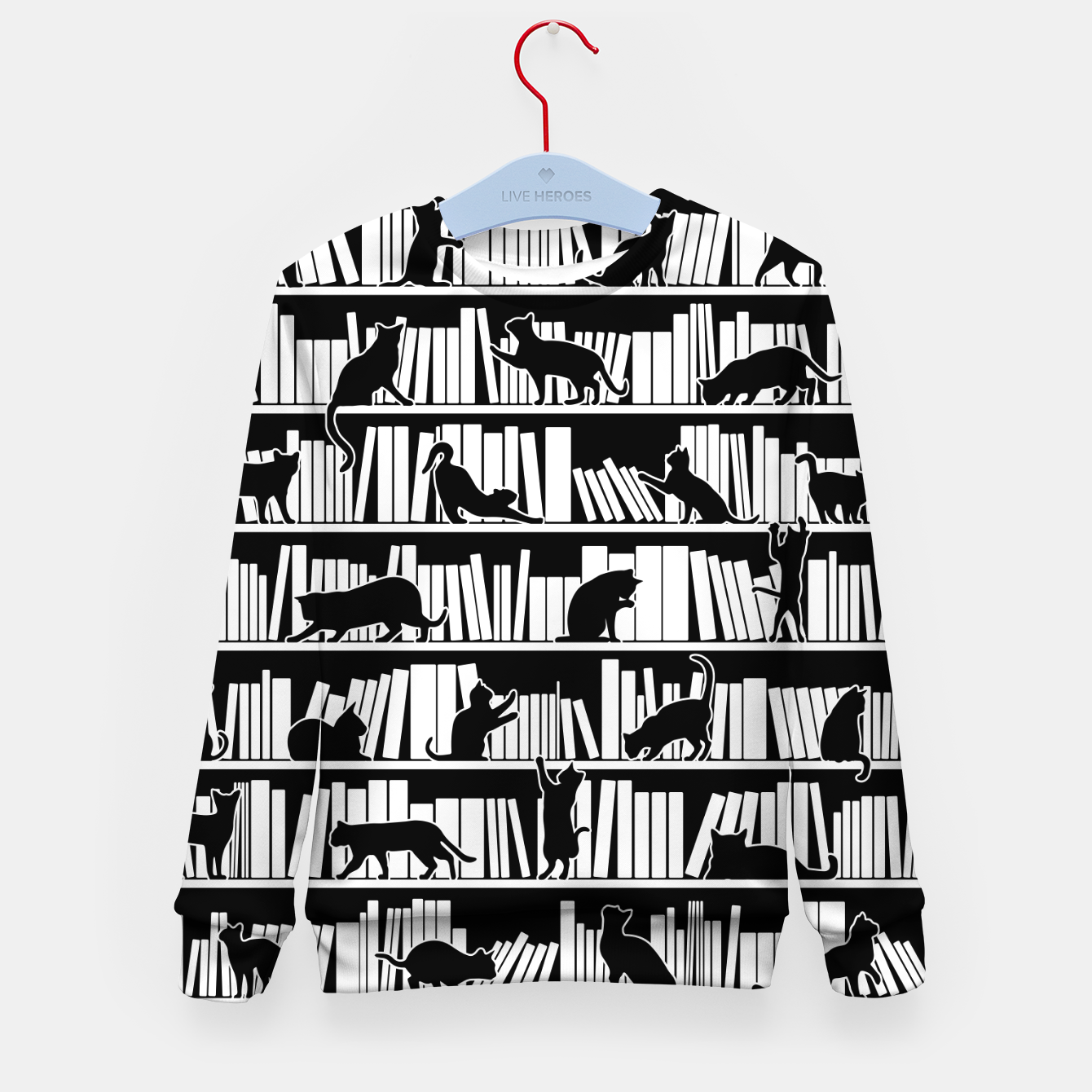 Image of All I Need Is Books & Cats Bookish Book & Cat Lover Pattern Kid's sweater - Live Heroes