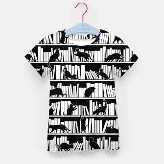 All I Need Is Books & Cats Bookish Book & Cat Lover Pattern Kid's t-shirt thumbnail image