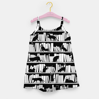 Thumbnail image of All I Need Is Books & Cats Bookish Book & Cat Lover Pattern Girl's dress, Live Heroes