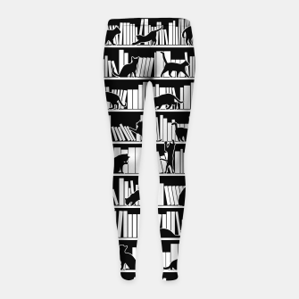 All I Need Is Books & Cats Bookish Book & Cat Lover Pattern Girl's leggings thumbnail image