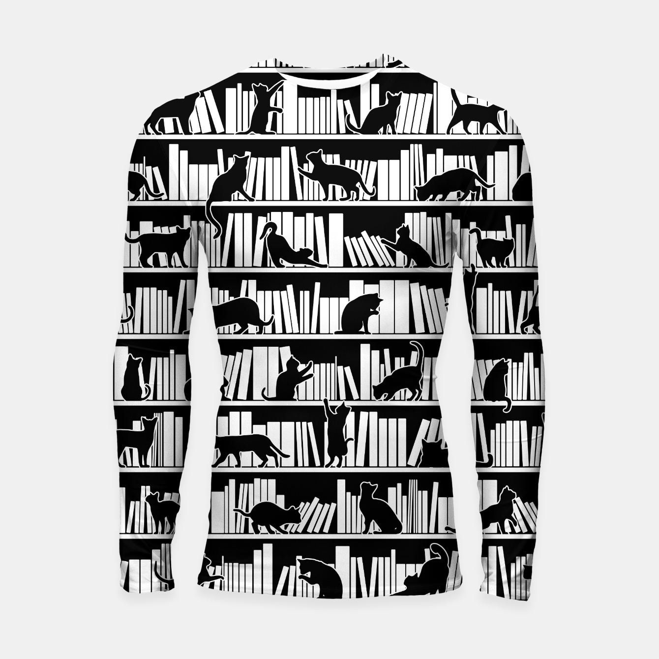 Image of All I Need Is Books & Cats Bookish Book & Cat Lover Pattern Longsleeve rashguard  - Live Heroes
