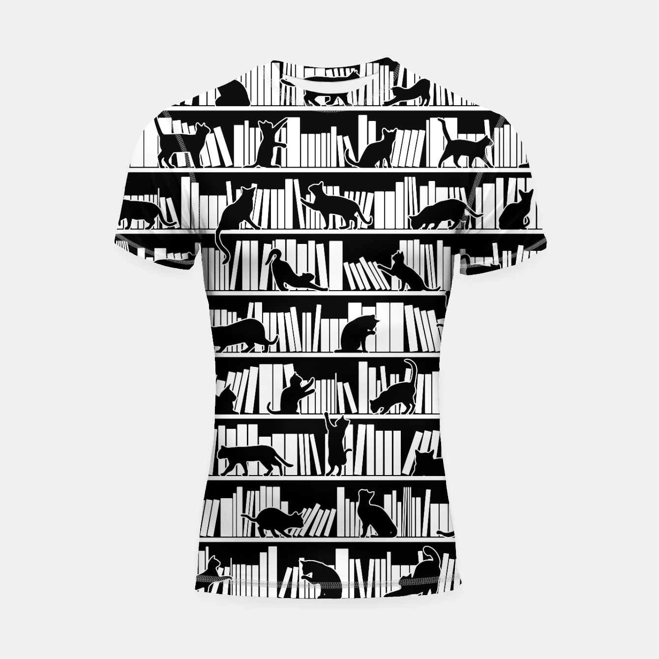 Image of All I Need Is Books & Cats Bookish Book & Cat Lover Pattern Shortsleeve rashguard - Live Heroes