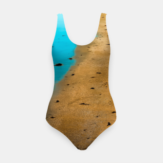 Thumbnail image of sandy beach and blue water at Manhattan Beach, California, USA Swimsuit, Live Heroes