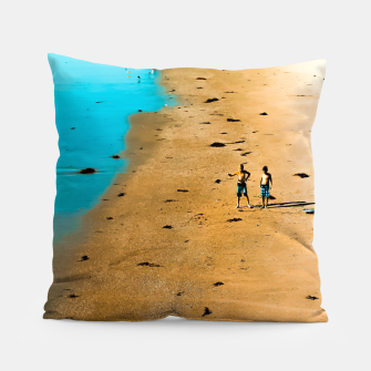 Thumbnail image of sandy beach and blue water at Manhattan Beach, California, USA Pillow, Live Heroes