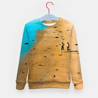 Thumbnail image of sandy beach and blue water at Manhattan Beach, California, USA Kid's sweater, Live Heroes