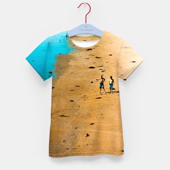 Thumbnail image of sandy beach and blue water at Manhattan Beach, California, USA Kid's t-shirt, Live Heroes