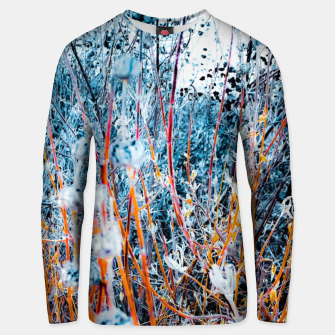 Thumbnail image of blooming dry wildflowers with dry grass field background Unisex sweater, Live Heroes
