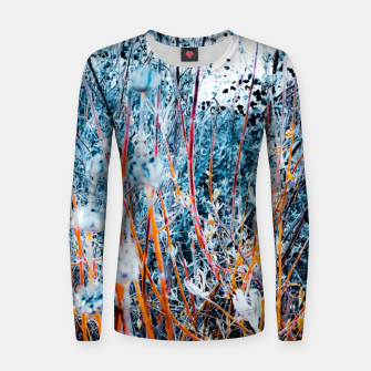 Thumbnail image of blooming dry wildflowers with dry grass field background Women sweater, Live Heroes