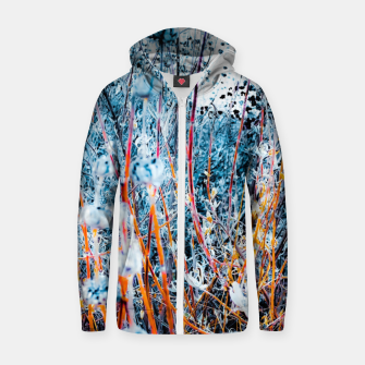 Thumbnail image of blooming dry wildflowers with dry grass field background Zip up hoodie, Live Heroes
