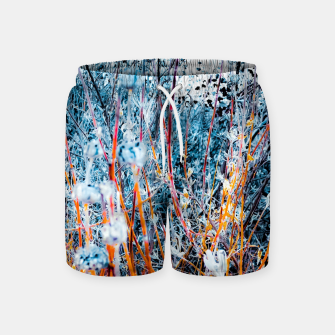 Thumbnail image of blooming dry wildflowers with dry grass field background Swim Shorts, Live Heroes