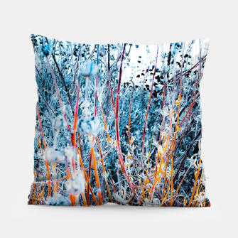 Thumbnail image of blooming dry wildflowers with dry grass field background Pillow, Live Heroes