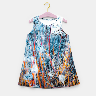 Thumbnail image of blooming dry wildflowers with dry grass field background Girl's summer dress, Live Heroes