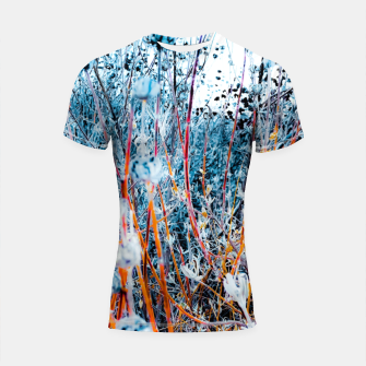 Thumbnail image of blooming dry wildflowers with dry grass field background Shortsleeve rashguard, Live Heroes