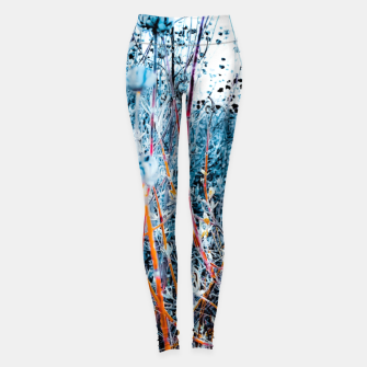 Thumbnail image of blooming dry wildflowers with dry grass field background Leggings, Live Heroes