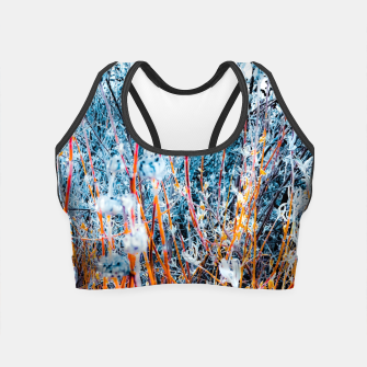 Thumbnail image of blooming dry wildflowers with dry grass field background Crop Top, Live Heroes