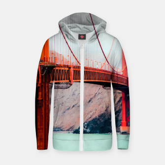 Thumbnail image of Boat and bridge view at Golden Gate Bridge, San Francisco, USA Zip up hoodie, Live Heroes