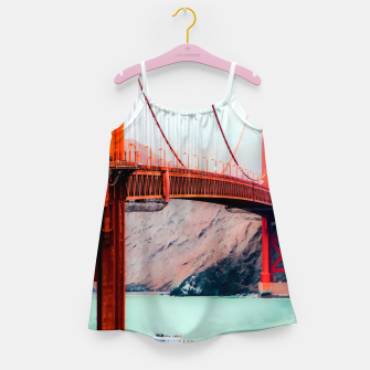 Miniatur Boat and bridge view at Golden Gate Bridge, San Francisco, USA Girl's dress, Live Heroes