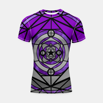 Thumbnail image of Purple Geometric Shortsleeve rashguard, Live Heroes