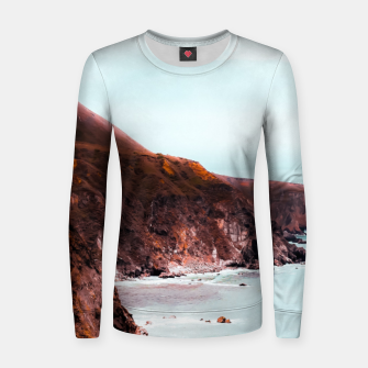 Miniaturka Mountains with ocean view at Big Sur, Highway 1, California, USA Women sweater, Live Heroes