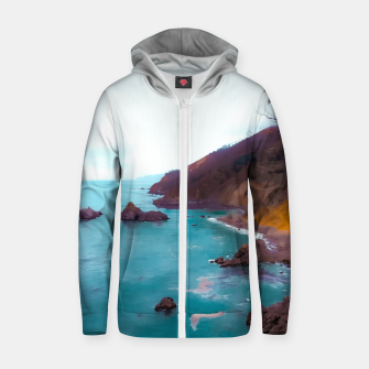Thumbnail image of mountains with coastal scenic at Big Sur, highway 1, California, USA Zip up hoodie, Live Heroes
