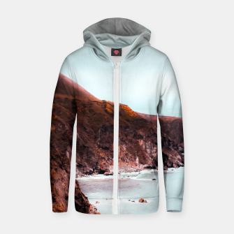 Miniaturka Mountains with ocean view at Big Sur, Highway 1, California, USA Zip up hoodie, Live Heroes
