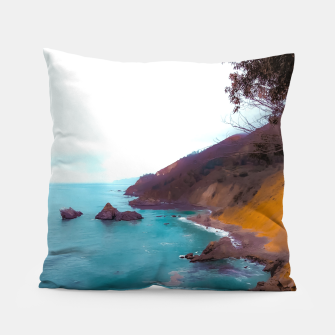 Thumbnail image of mountains with coastal scenic at Big Sur, highway 1, California, USA Pillow, Live Heroes