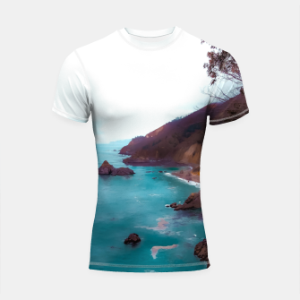 Thumbnail image of mountains with coastal scenic at Big Sur, highway 1, California, USA Shortsleeve rashguard, Live Heroes