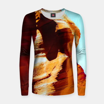 Thumbnail image of Orange sandstone abstract with blue sky at Antelope Canyon, Arizona, USA Women sweater, Live Heroes