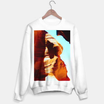 Thumbnail image of Orange sandstone abstract with blue sky at Antelope Canyon, Arizona, USA Sweater regular, Live Heroes