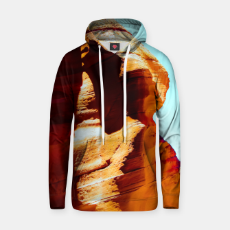 Thumbnail image of Orange sandstone abstract with blue sky at Antelope Canyon, Arizona, USA Hoodie, Live Heroes