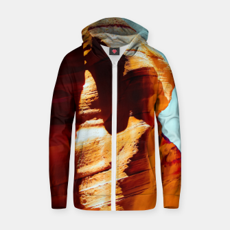 Thumbnail image of Orange sandstone abstract with blue sky at Antelope Canyon, Arizona, USA Zip up hoodie, Live Heroes