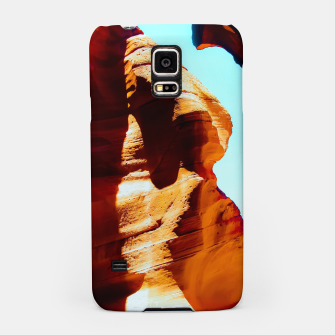 Thumbnail image of Orange sandstone abstract with blue sky at Antelope Canyon, Arizona, USA Samsung Case, Live Heroes