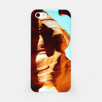 Thumbnail image of Orange sandstone abstract with blue sky at Antelope Canyon, Arizona, USA iPhone Case, Live Heroes