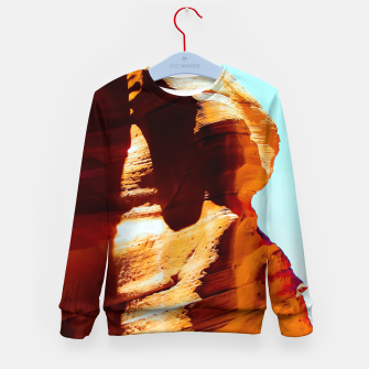 Thumbnail image of Orange sandstone abstract with blue sky at Antelope Canyon, Arizona, USA Kid's sweater, Live Heroes