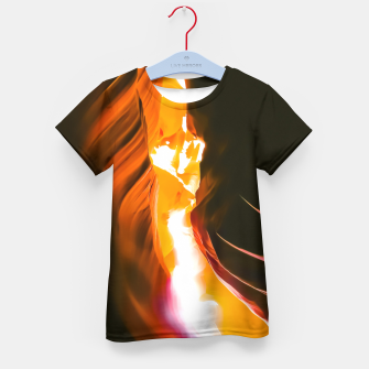 Thumbnail image of light in the sandstone cave abstract at Antelope Canyon, Arizona, USA Kid's t-shirt, Live Heroes
