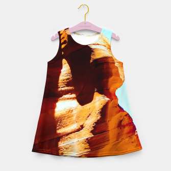 Thumbnail image of Orange sandstone abstract with blue sky at Antelope Canyon, Arizona, USA Girl's summer dress, Live Heroes