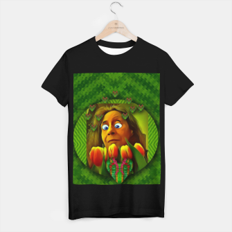 Thumbnail image of lady cartoon love her tulips in peace T-shirt regular, Live Heroes