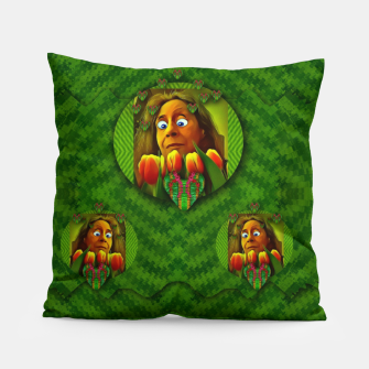 Thumbnail image of lady cartoon love her tulips in peace Pillow, Live Heroes