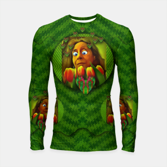 Thumbnail image of lady cartoon love her tulips in peace Longsleeve rashguard , Live Heroes