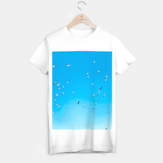 Thumbnail image of flying birds over the blue sky T-shirt regular, Live Heroes